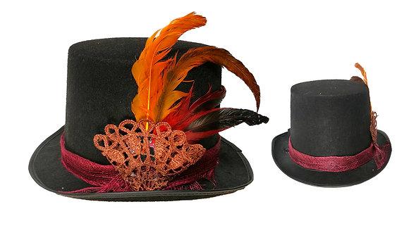 Sombrero de copa fantasia con plumas- steampunk
