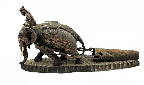 Figura tallada en madera elefante