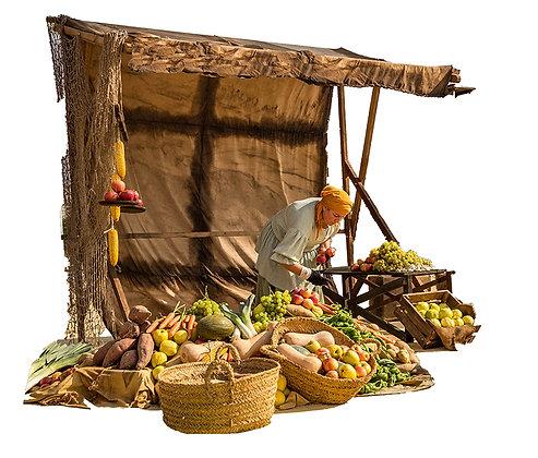 Tinglados de venta ambulante de madera y lonas tematizadas