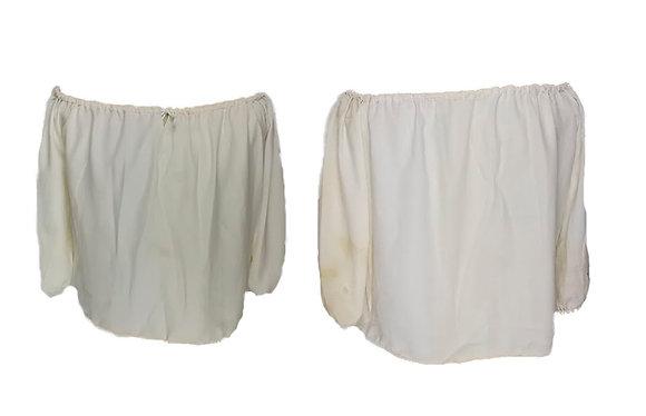 Blusa mujer escote amplio blanca sucia