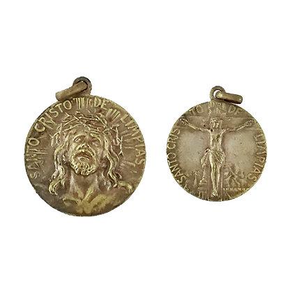 Pequeña medalla Cristo de Limpias metal (3 cm), cara y revés