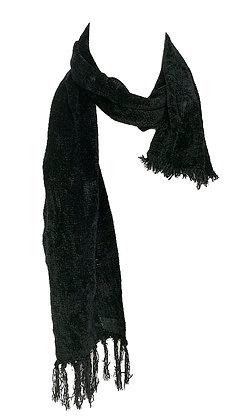 Fubanda terciopelo negro con flecos