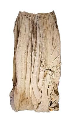 Falda larga tejido ligero plisada con recogido inferior, tematizada, cintura ada