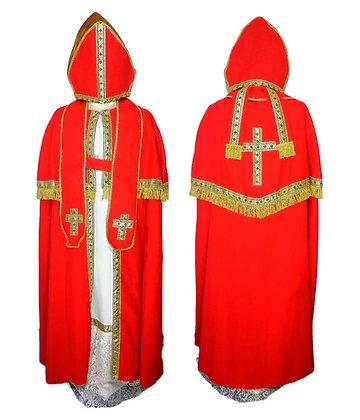 Traje completo Obispo, rojo, blanco y dorado.