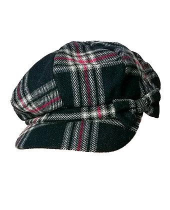 Gorra tela de lana a cuadros azules