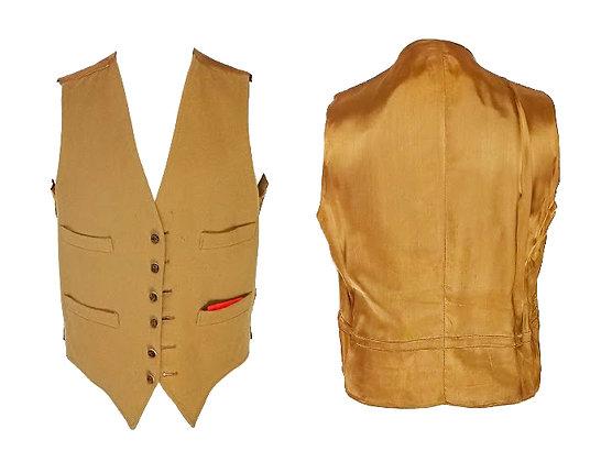 Chaleco sin mangas en lana y botones madera color camel talla mediana