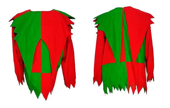Traje de arlequín rojo y verde con cascabeles, mallas y gorro