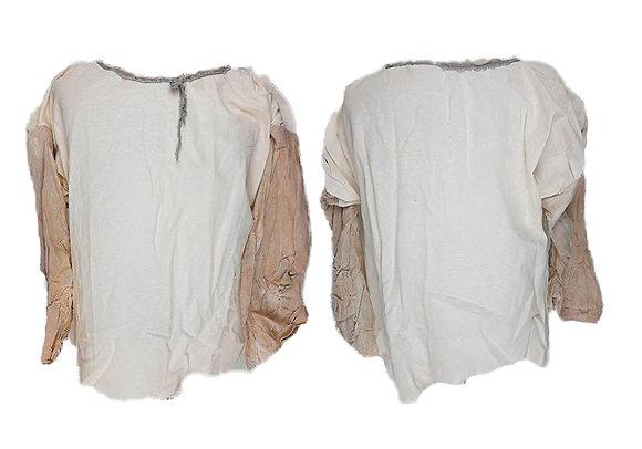 Blusa en dos colores, tejido austero