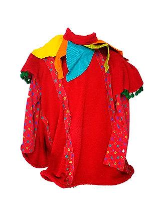 Traje de elfo en lana roja con adornos de colores UNISEX
