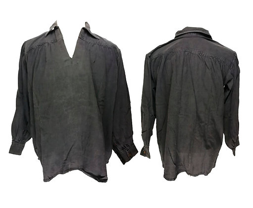 Camisa negra de algodón de recreación con botones de madera