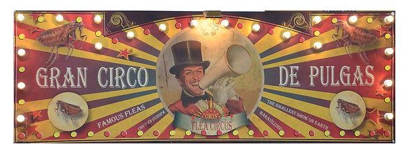 Letrero luminoso del clásico circo de pulgas