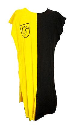 Sobrevesta de algodón amarilla y negra con escudo