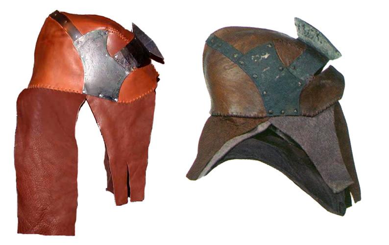 Casco cuero y metal orco