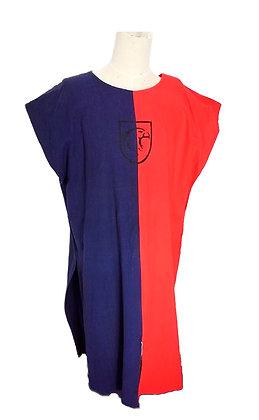Sobrevesta algodón rojo y azul con escudo