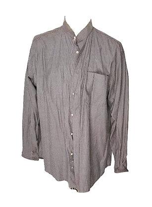 Camisa clásica caballero cuello tirilla, rayitas, talla grande