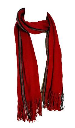 Bufanda lana roja con cinta en colores