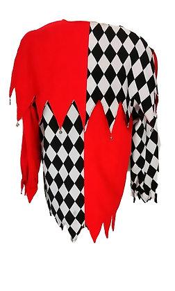 Traje de arlequín rojo y ajedrez con cascabeles, mallas y gorro