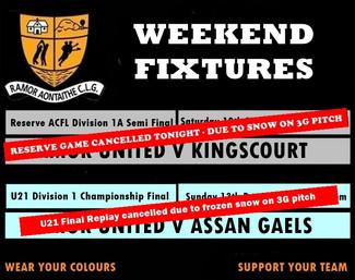 Weekend Fixtures Postponed