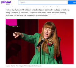 Angela Rayner Shadow Secretary of State for Education making her speech at the rally, published in Yahoo! News.