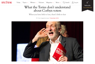 Labour leader Jeremy Corbyn cupping his ear at a climate change rally in Falmouth, Cornwall 27/11/19, published in The Spectator,