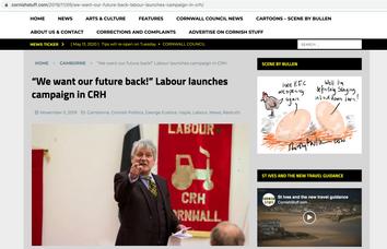 Labour Party general election campaign launch. Camborne,  publish in Cornish Stuff
