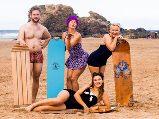 The World Belly Board Championships on Perranporth beach. 08/09/2019