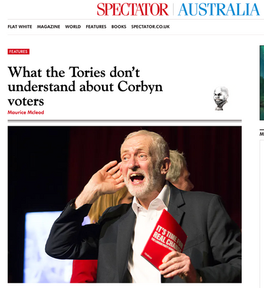 Labour leader Jeremy Corbyn cup- ping his ear at a climate change ral- ly in Falmouth, Cornwall 27/11/19, published in Spectator Australia