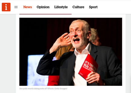 Labour leader Jeremy Corbyn cupping his ear at a climate change rally in Falmouth, Cornwall 27/11/19, published in The I News