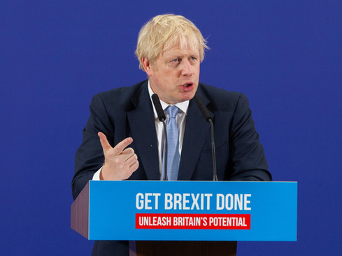 Prime Minister and Conservative Party leader, Boris Johnson makes a speech to an audience as he visits Healey's Cornish Cyder Farm on November 27, 2019 in Callestick, England.