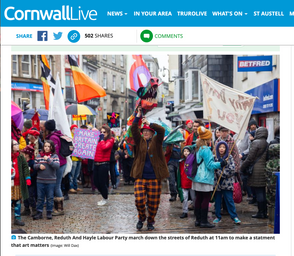 The Camborne, Reduth And Hayle Labour Party march down the streets of Reduth to make a statment that art matters, published in Cornwall Live