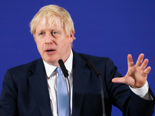 Prime Minister and Conservative Party leader, Boris Johnson makes a speech to an audience as he visits Healey's Cornish Cyder Farm on November 27, 2019