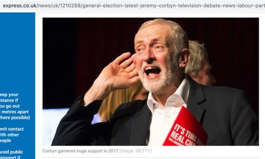 Labour leader Jeremy Corbyn cupping his ear at a climate change rally in Falmouth, Cornwall 27/11/19, published in The Express