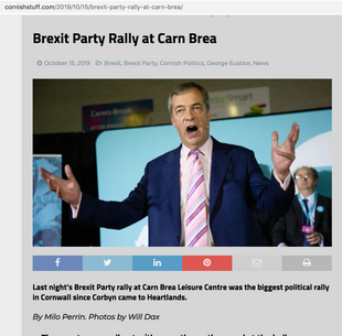 Nigel Farage at the Brexit Party Rally in Carn Brea Leisure Centre, published in Cornish Stuff