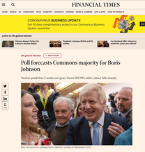 Prime Minister and Conservative Party leader, Boris Johnson meets the audience on his visit to the Healey's Cornish Cyder Farm, publish in The Finan- cial Times.