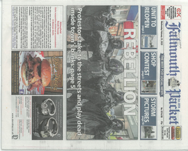 Extinction Rebellion protest on Falmouth High Street, My photo was published on the front page of the Falmouth Packet.