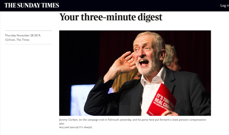 Labour leader Jeremy Corbyn cupping his ear at a climate change rally in Falmouth, Cornwall 27/11/19, published in The Sunday Times