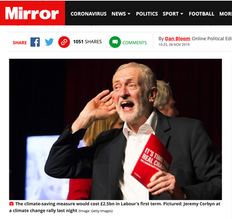Labour leader Jeremy Corbyn cupping his ear at a climate change rally in Falmouth, Cornwall 27/11/19, published in The Mirror