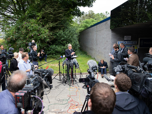 Devon and Cornwall Police Chief Constable Shaun Sawyer speaks to the press following a shooting in Keyham yesterday evening on August 13, 2021 in Plymouth