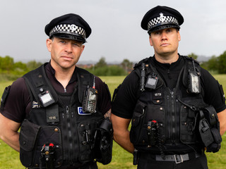Police officers take part in a search routine during a media open day to showcase policing activities for the upcoming in-person G7 Summit, at the Police headquarters in Exeter
