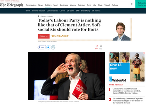 Labour leader Jeremy Corbyn cupping his ear at a climate change rally in Falmouth, Cornwall 27/11/19, published in The Telegraph