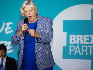 Ann Widdecombe at the Brexit Party Rally as part of the nationwide tour at the Carn Brea Leisure Centre, Cornwall.