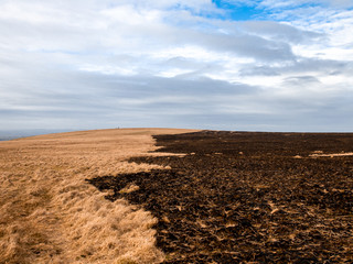 The aftermath of the huge fire that broke out across Dartmoor