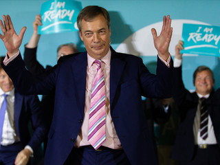 Nigel Farage at the Brexit Party Rally as part of the nationwide tour at the Carn Brea Leisure Centre, Cornwall.