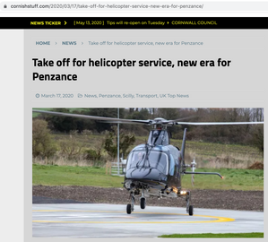 The new helicopter service from Penzance to the Isles of Scilly, published in Cornish Stuff.