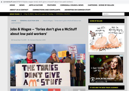 The Camborne, Redruth and Hale Labour Party protest outside McDonalds, published in Cornish stuff