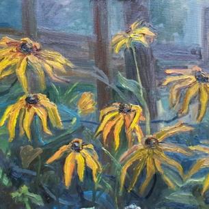 Katya Kebal_Yellow flowers-spiders_oil o