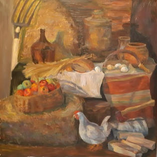 Katya Kebal Country still life with a ch