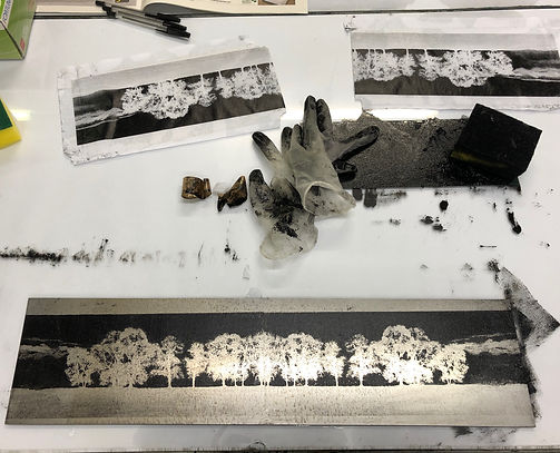 Ink, sponge, photocopy, steel plate_