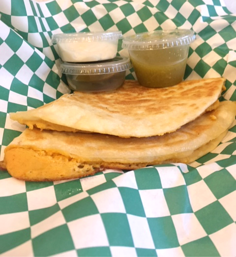Quesadilla on Stacey's Organic Tortillas w/Sour Cream & Salsa