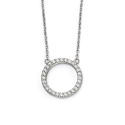 Silver and Cubic Zirconia Halo Necklace